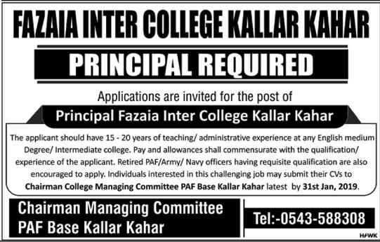 Jobs Vacancies In Fazaia Inter College Kallar Kahar 20 January 2019