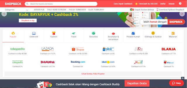CASH BACK SHOPBACK, belanjan online melalui Shopback
