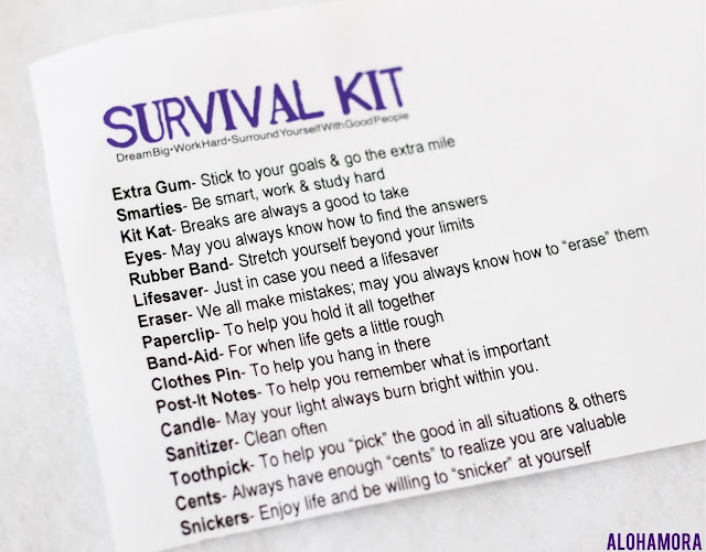 HIgh School Graduate DIY Survival Kit full of Life Lessons ever kid (going to college or not) needs to know. Craft. Inexpensive gift. Lesson. Church. Teacher. Alohamora Open a Book www.alohamoraopenabook.blogspot.com