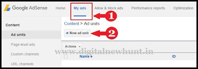 click new ad unit