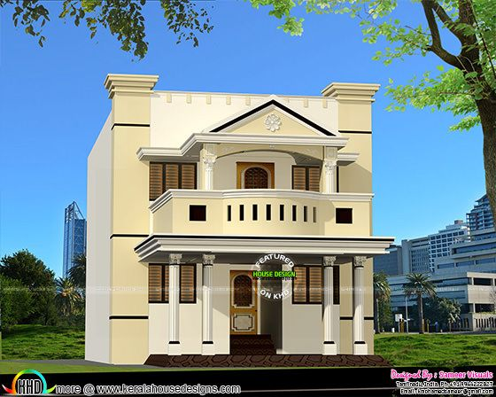 Tamilnadu style modern home in 2200 sq-ft