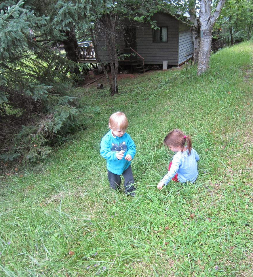 toddlers in the grass