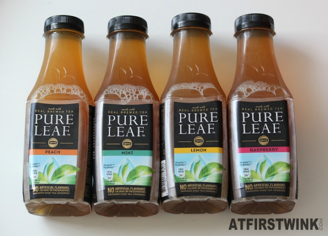 pure leaf ice tea peach, mint, lemon, raspberry bottles