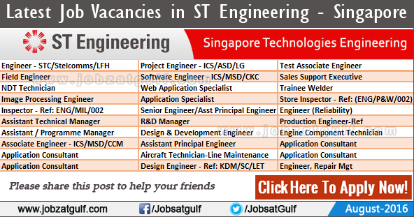 Job Vacancies in ST Engineering - Singapore Technologies ...