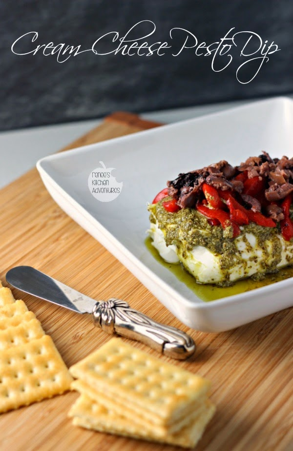 Featured Recipe | Cream Cheese Pesto Dip from Renee's Kitchen Adventures #SecretRecipeClub #recipe