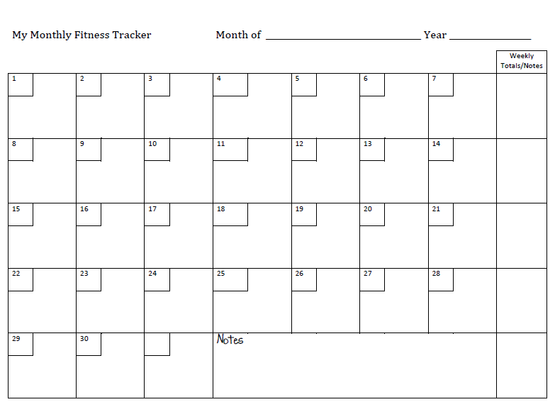 Monthly workout plan template for Exercise calendar template free