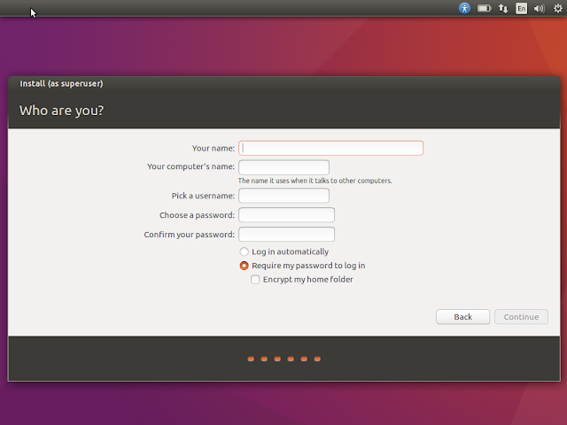 Choose username/password in Ubuntu