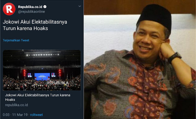 Jokowi Mengaku Elektabilitasnya Turun karena Hoaks, Fahri Beri Tanggapan Menohok