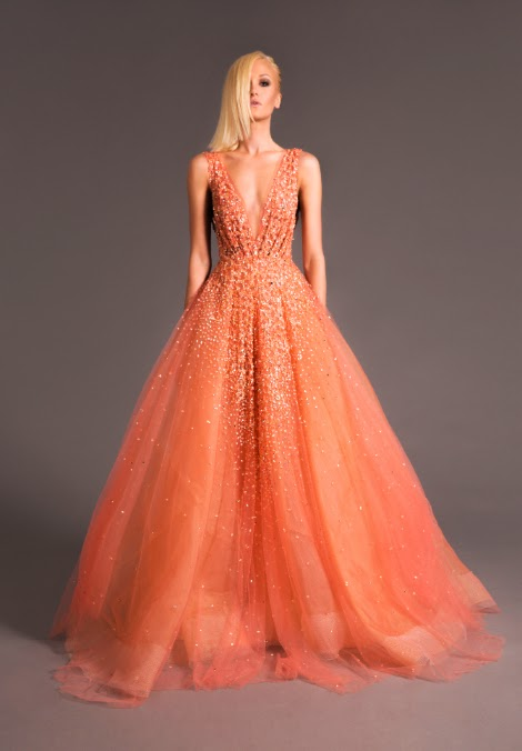 peach sequined ball gown by Lebanese designer Jad Ghandour