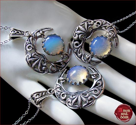 Collier croissant de lune celtique argent pierre de lune opale blanc opalescent magie wicca