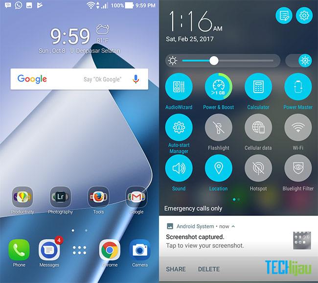 Tampilan pada ASUS Zenfone 4 Max Pro