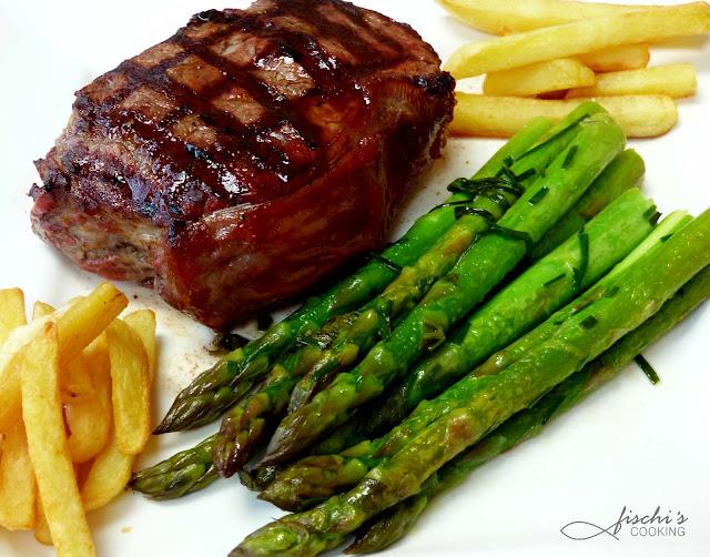 fischiscooking, steak, grillen, grüner spargel