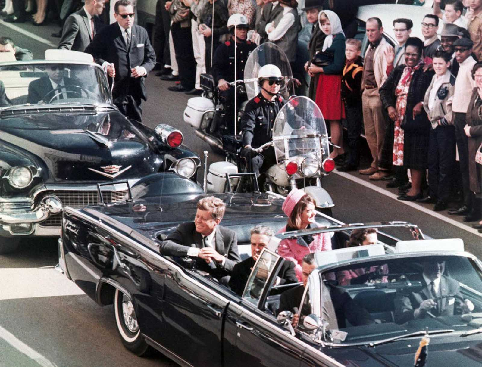 President John F. Kennedy's motorcade in Dallas, November 22, 1963.