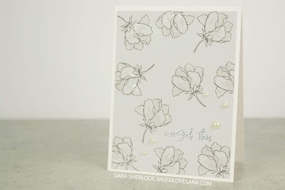 Simple tone on tone flowers scatter across the background of these fun Encouragement cards.  Using Altenew's Peony Bouquet, and My Favorite Thing's Anything-but-Basic Encouragement Stamp Set.