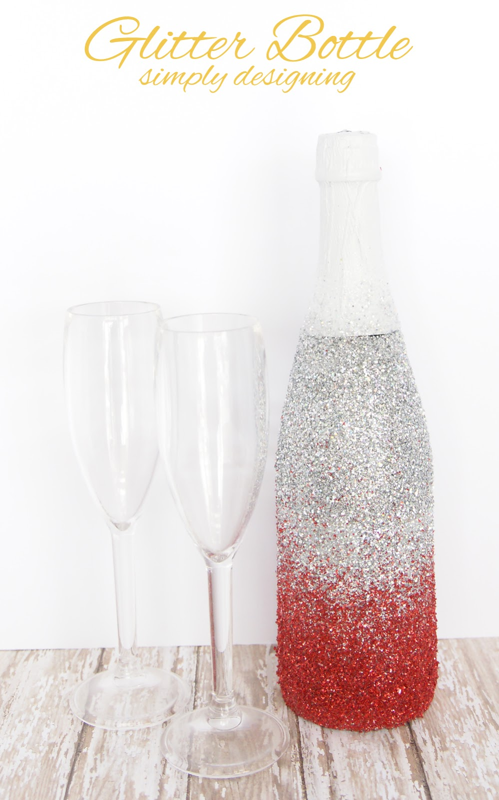 Glitter Bottle | a perfect way to dress-up a bottle of bubbly for Valentine's Day, Christmas, New Year's or a Wedding | #glitter #valentinesday #celebration