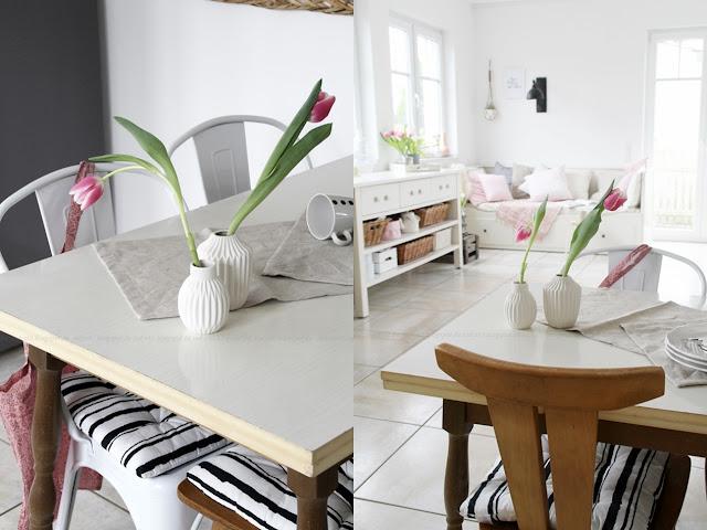Deko Donnerstag! Heute mit einem vintage Küchentisch, der Kindheitserinnerungen weckt und stylischer Tischdeko! Collage Tisch mit Deko und Blick in die Küche
