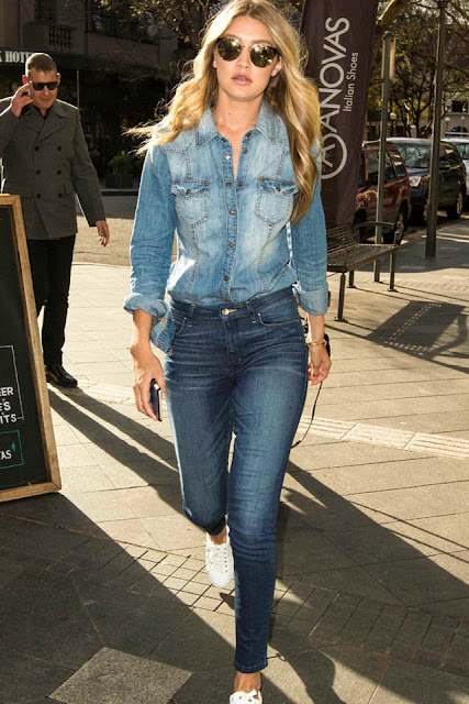 Gigi Hadid Street Style , How To Rock Your Blue Jeans
