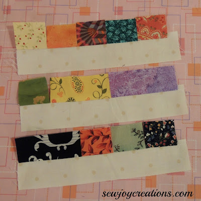 making two piece units with scraps and a strip