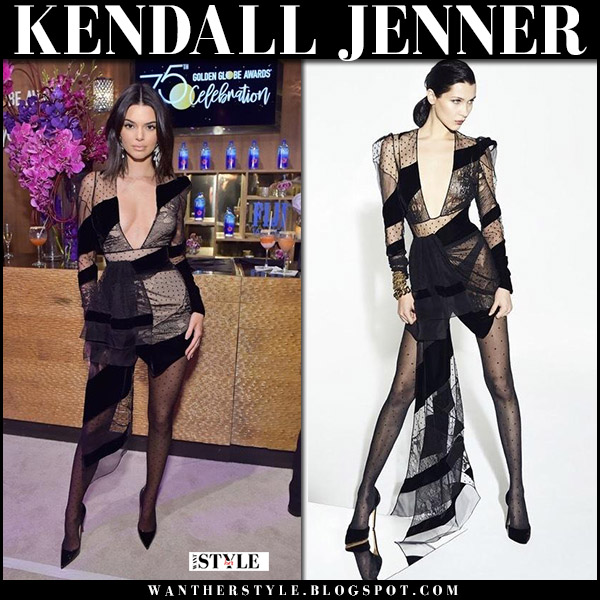 Kendall Jenner in black mesh sheer mini dress alexandre vauthier golden globes after party 2018