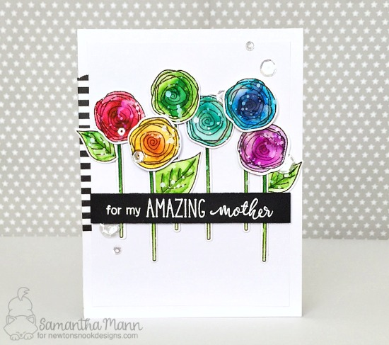 Rainbow Flowers for Mother | Card by Samantha Mann | Lovely Blooms Stamp Set by Newton's Nook Designs #newtonsnook