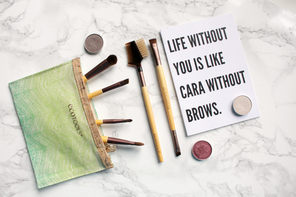 Eco Tools Eye Brushes in makeup pouch with MAC eyeshadows