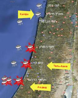 карта медуз в Израиле