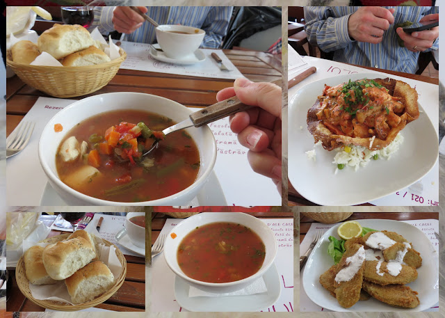 Hearty soup, fried zucchini, and chicken at the cafe in the Museum of the Romanian Peasant in Bucharest