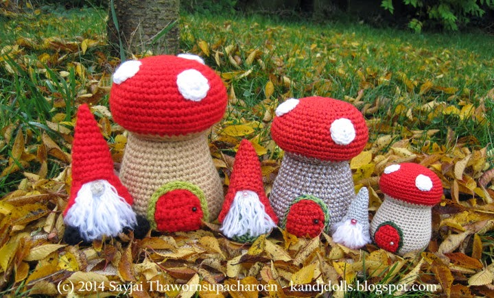 Free Amigurumi Gnome Pattern : Little Gnomes with Mushroom Houses: New Amigurumi crochet ...