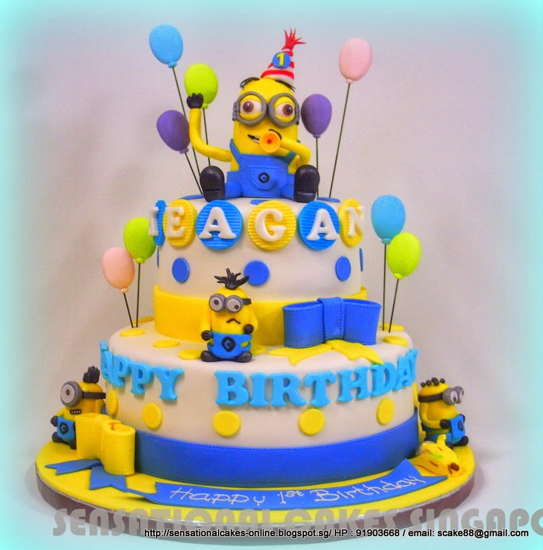 Cakes2Share Singapore MINION 2 TIER PARTY THEME CAKE