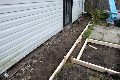 back door path walk concrete framing forms