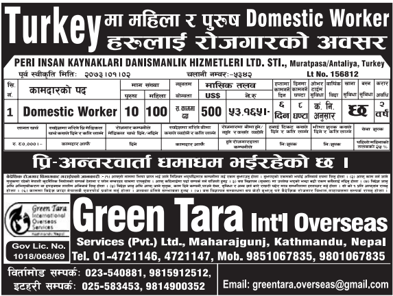Jobs For Nepali In Turkey, Free Visa & Free Ticket Salary -Rs.53,165/