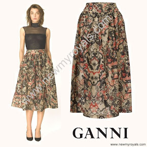 Crown Princess Mary Style GANNI City Hall Lace Skirt