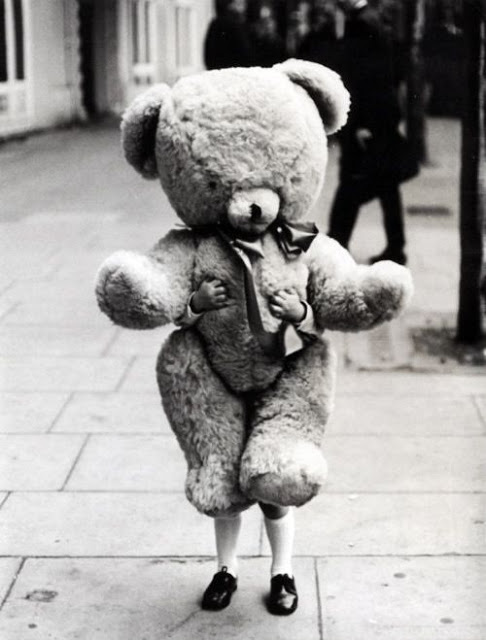 Vintage photo of cute little kid with an enormous teddy bear. Children and Adults. marchmatron.com