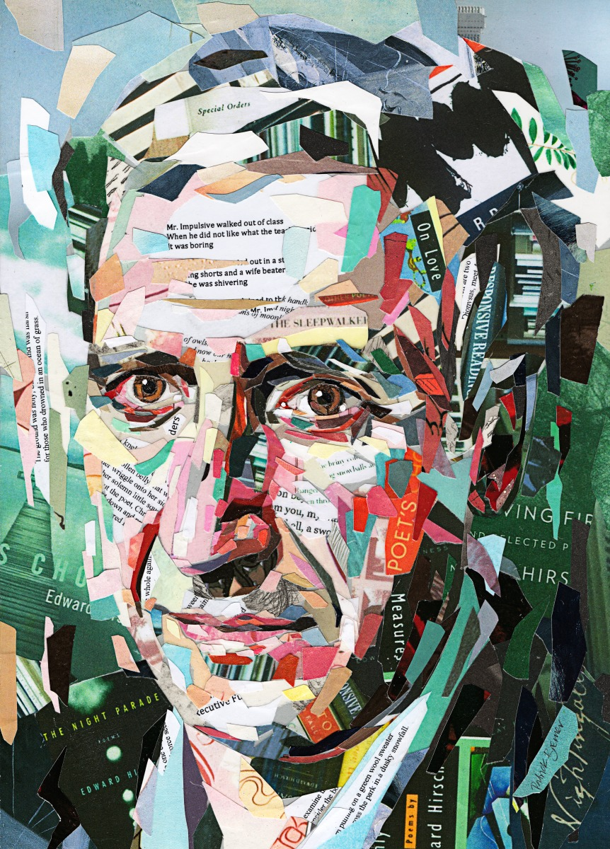 collage bremer patrick work creative paper artist layers using pieces creates simply strips magazines books