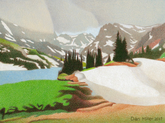 Lake Isabelle Storm - Colored Pencil Drawing