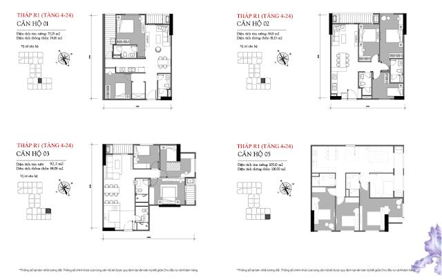 Mặt bằng căn 01 – 02 – 03 – 05 tòa R1