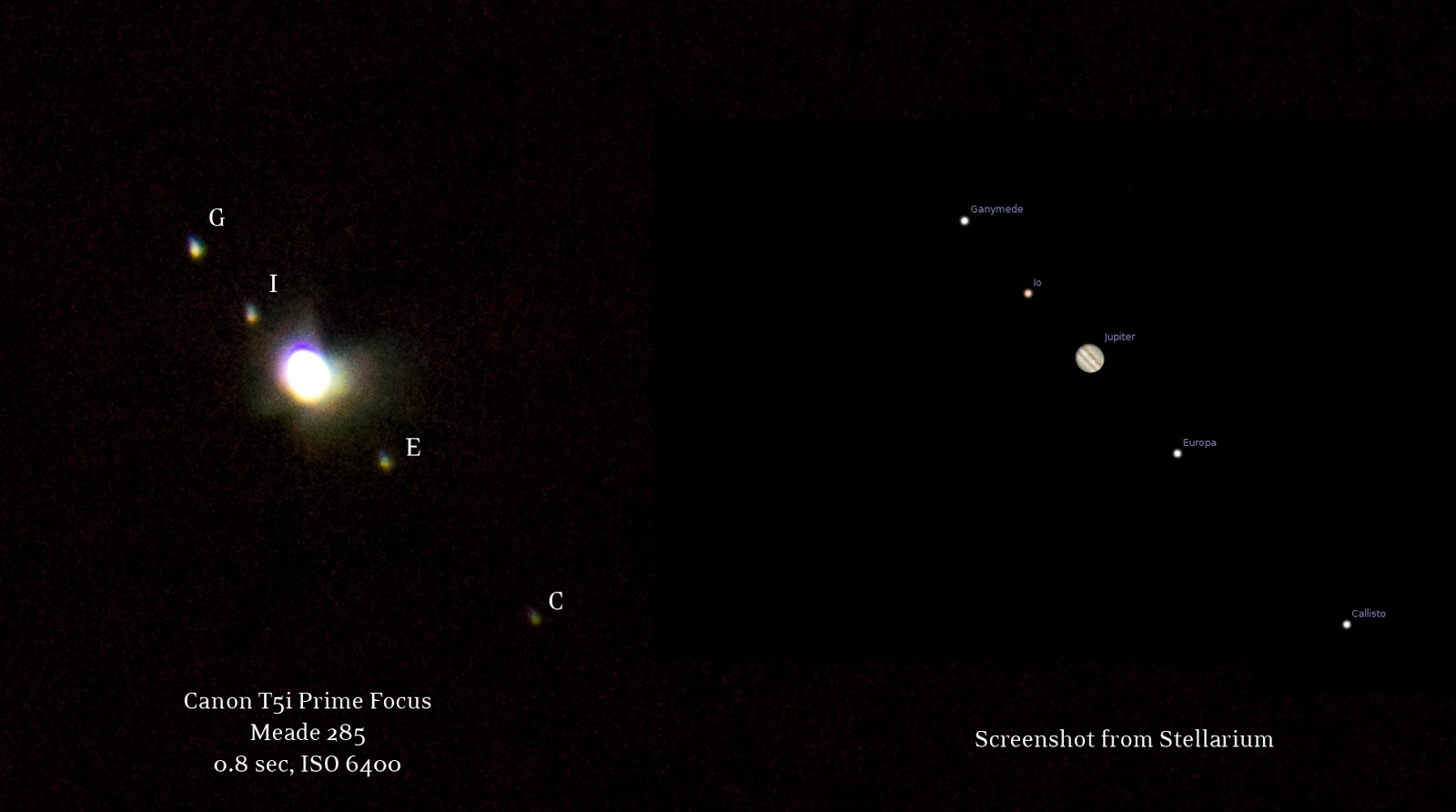 Jupiter and moons from DSLR