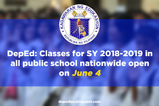 DepEd: Classes for SY 2018-2019 in all public school nationwide open on June 4