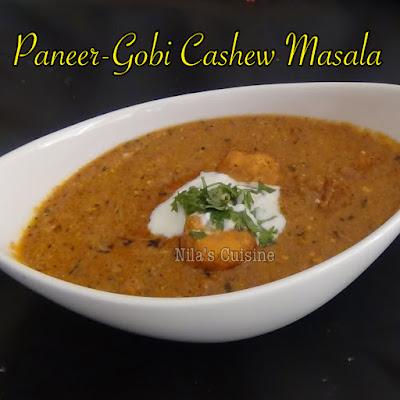 Paneer Gobi Cashew Masala / Restaurant Style Paneer Cauliflower Cashew Curry