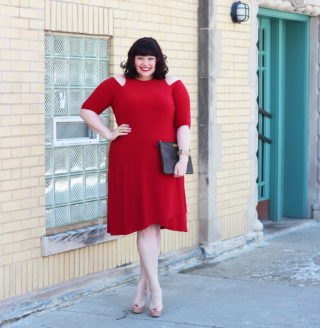 Plus Size Blogger Amber from Style Plus Curves in Kiyonna Racy Faux Wrap Dress