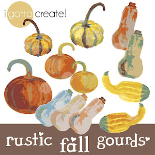 Rustic Gourds, Pumpkin and Squash clip art by I Gotta Create!