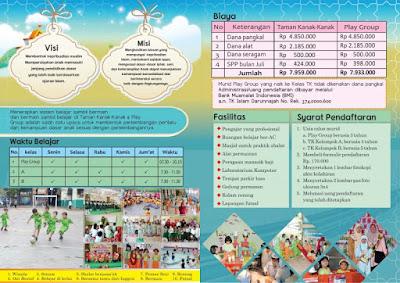 brosur tk islam darunnajah jakarta - belakang