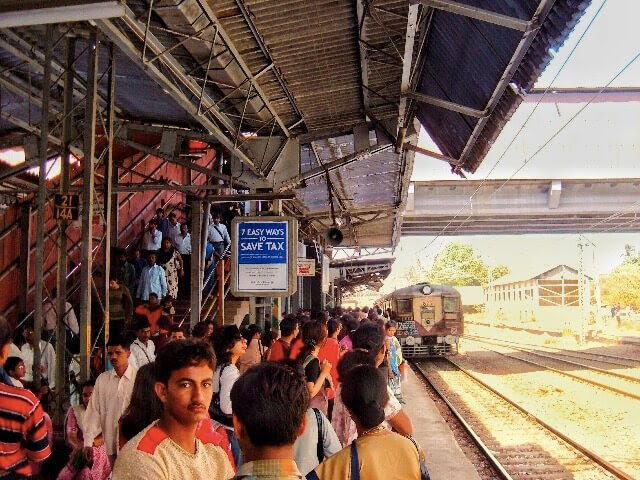 Waiting for the train in Mumbai