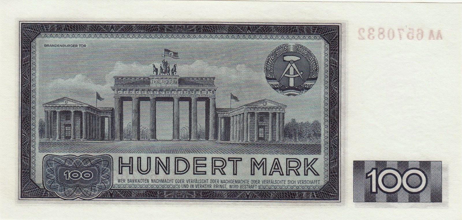 German Democratic Republic Banknotes 100 Mark banknote 1964 Brandenburg Gate in Berlin