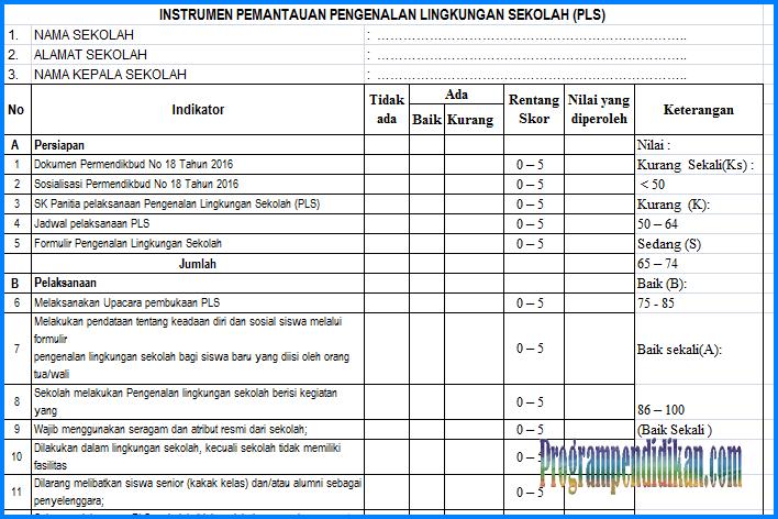 Instrumen Pemantauan PLS Tahun Pelajaran 2018/2019