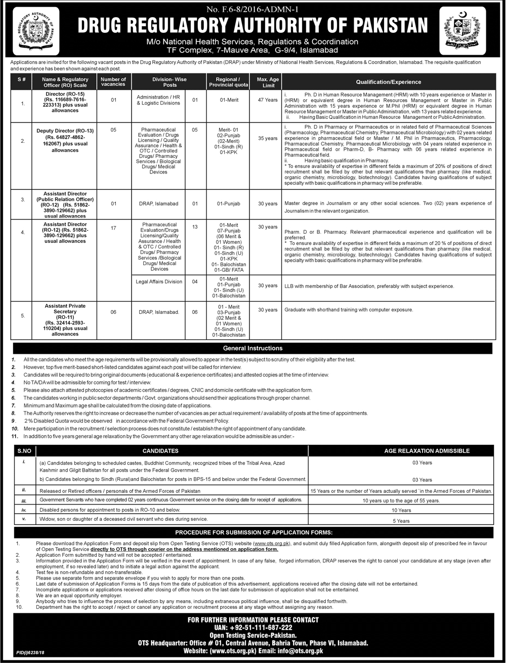 ➨ #Jobs - #Career_Opportunities - #Jobs - Drugs Regulatory Authority of Pakistan Islamabad (30 Posts) - Apply within 15 Days