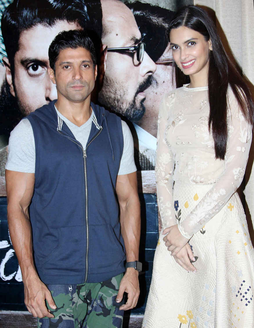 Farhan Akhtar and Diana Penty During Promotion of Upcoming film Lucknow Central
