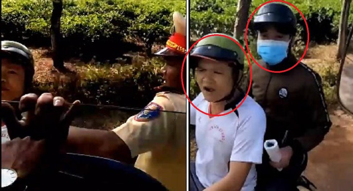 """Quay phim vì cho rằng CSGT Gia Lai bắt lỗi sai, chủ xe bị 2 thanh niên """"lạ mặt"""" tới gây hấn"""