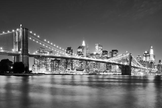 Kaupunki tapetti New York Valokuvatapetti maisematapetti musta valkoinen Brooklyn Bridge