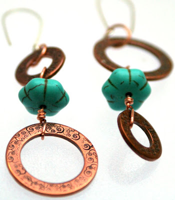 Southwestern flair: copper, turquoise dyed howlite, sterling silver, ooak earrings :: All Pretty Things
